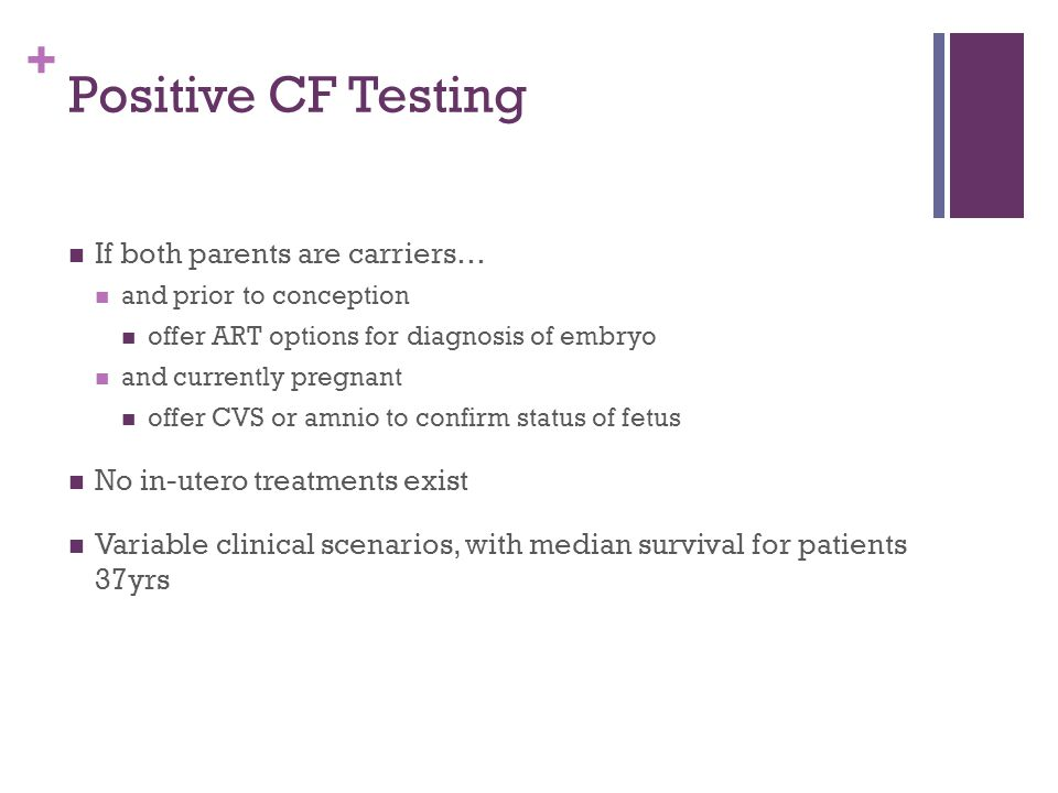 Positive CF Testing If both parents are carriers…