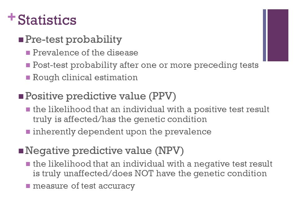 Statistics Pre-test probability Positive predictive value (PPV)