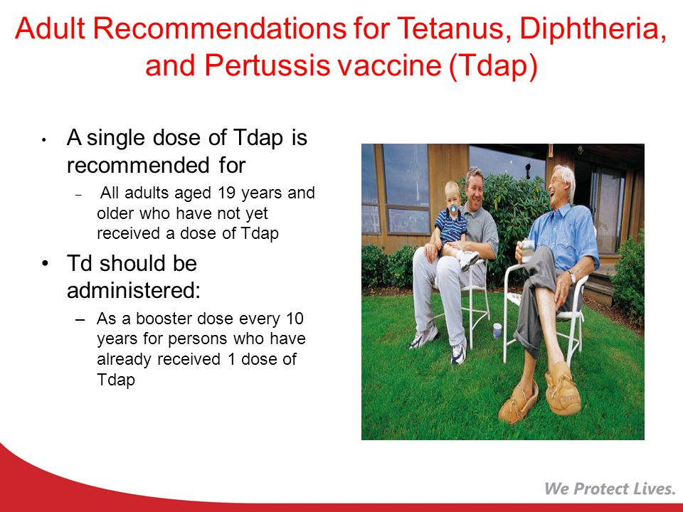 Adult Recommendations for Tetanus, Diphtheria, and Pertussis vaccine (Tdap)