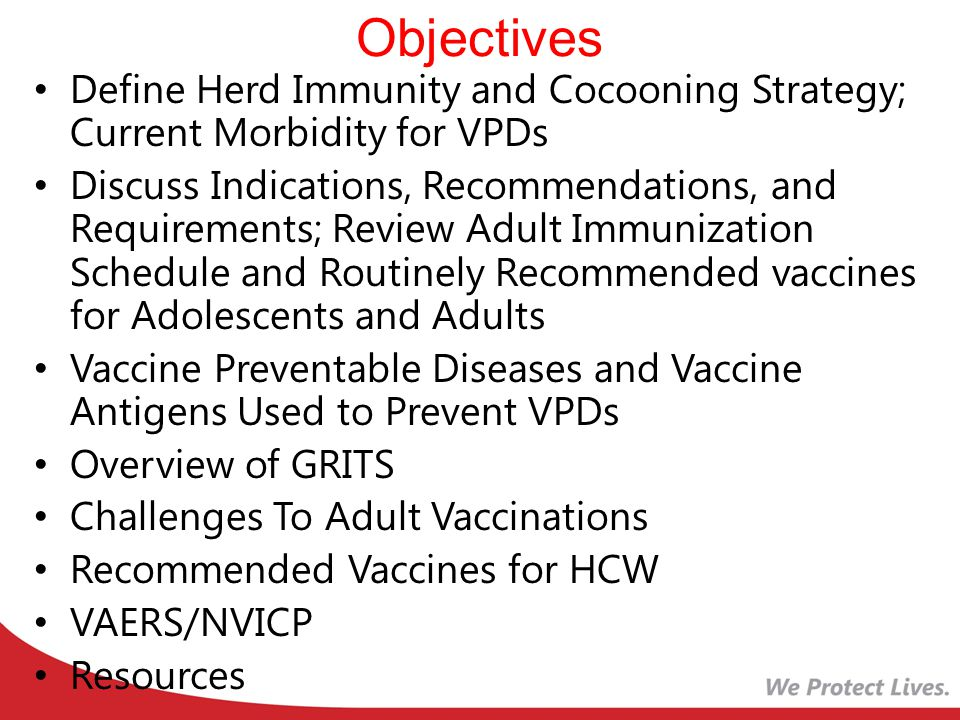 Objectives Define Herd Immunity and Cocooning Strategy; Current Morbidity for VPDs.