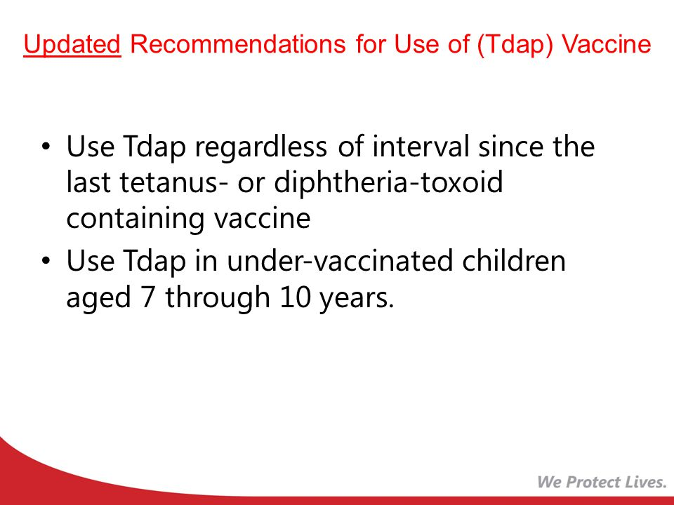 Updated Recommendations for Use of (Tdap) Vaccine