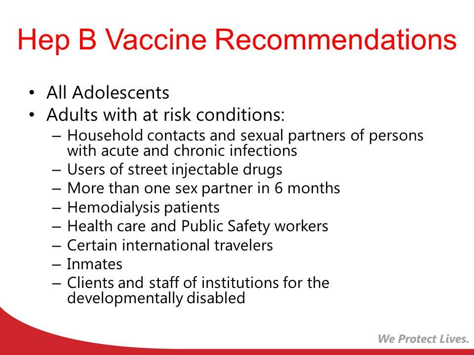 Hep B Vaccine Recommendations