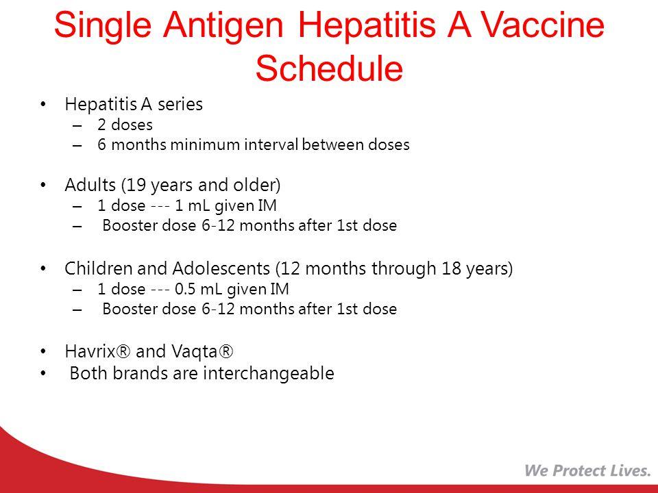Single Antigen Hepatitis A Vaccine Schedule