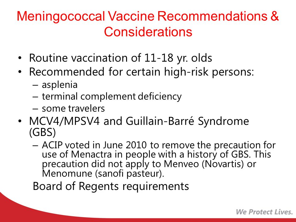 Meningococcal Vaccine Recommendations & Considerations