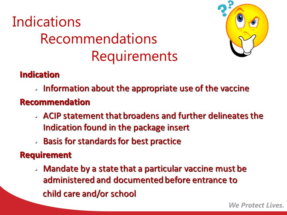 Indications Recommendations Requirements