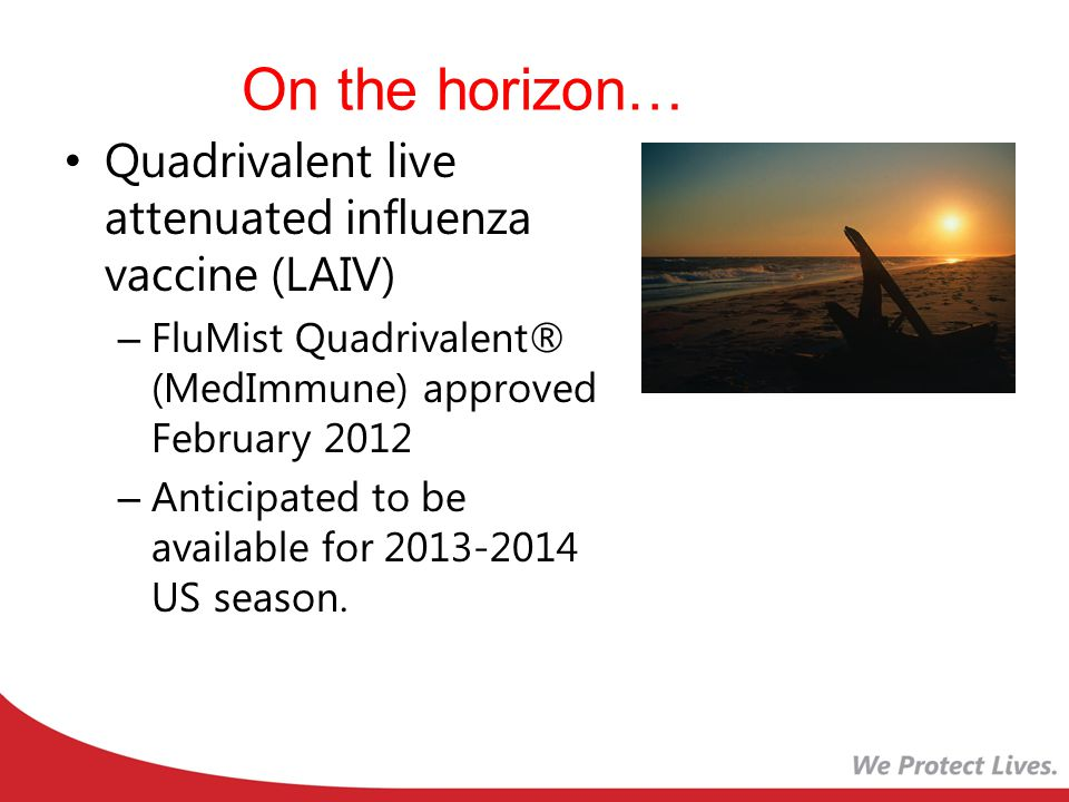 On the horizon… Quadrivalent live attenuated influenza vaccine (LAIV)