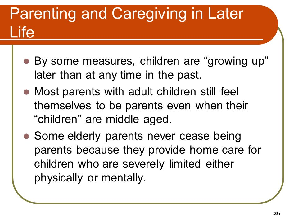 Parenting and Caregiving in Later Life