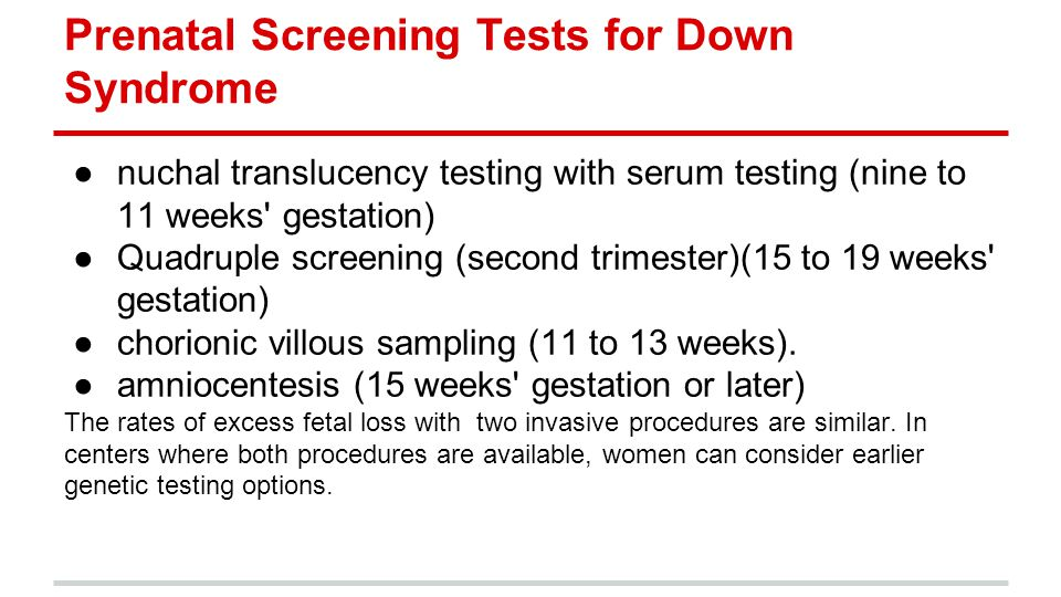 Prenatal Screening Tests for Down Syndrome