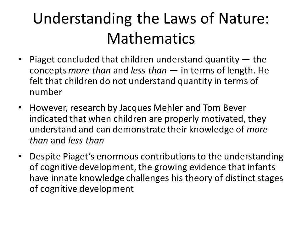 Understanding the Laws of Nature: Mathematics