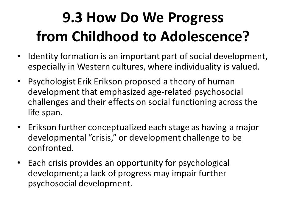 development during adolescence questions During adolescence, children develop the ability to: understand abstract ideas these include grasping higher math concepts, and developing moral philosophies, including rights and privileges.