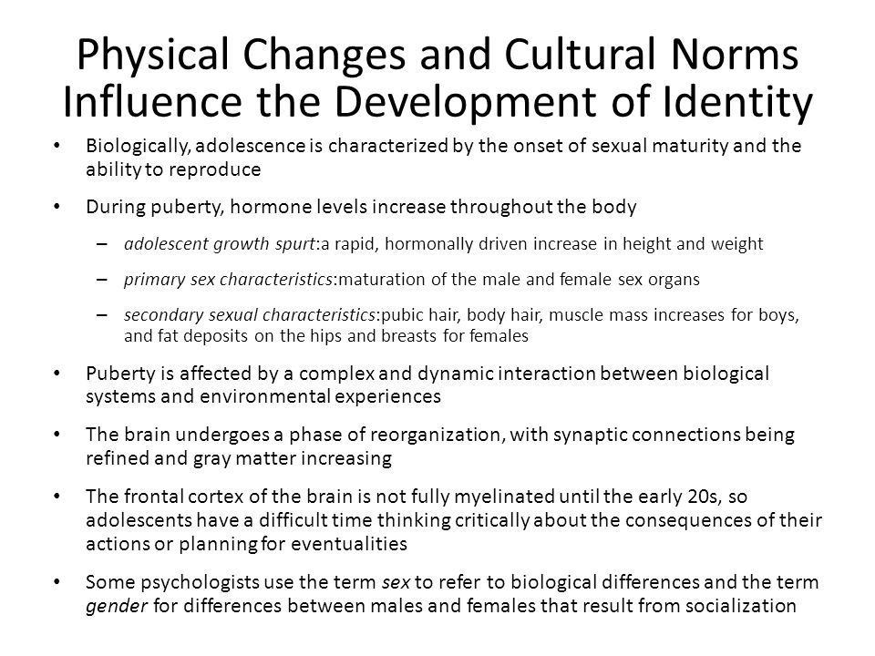 Physical Changes and Cultural Norms Influence the Development of Identity
