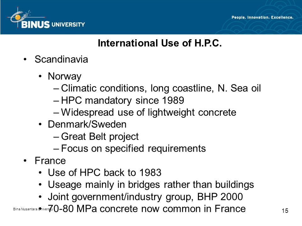 International Use of H.P.C.