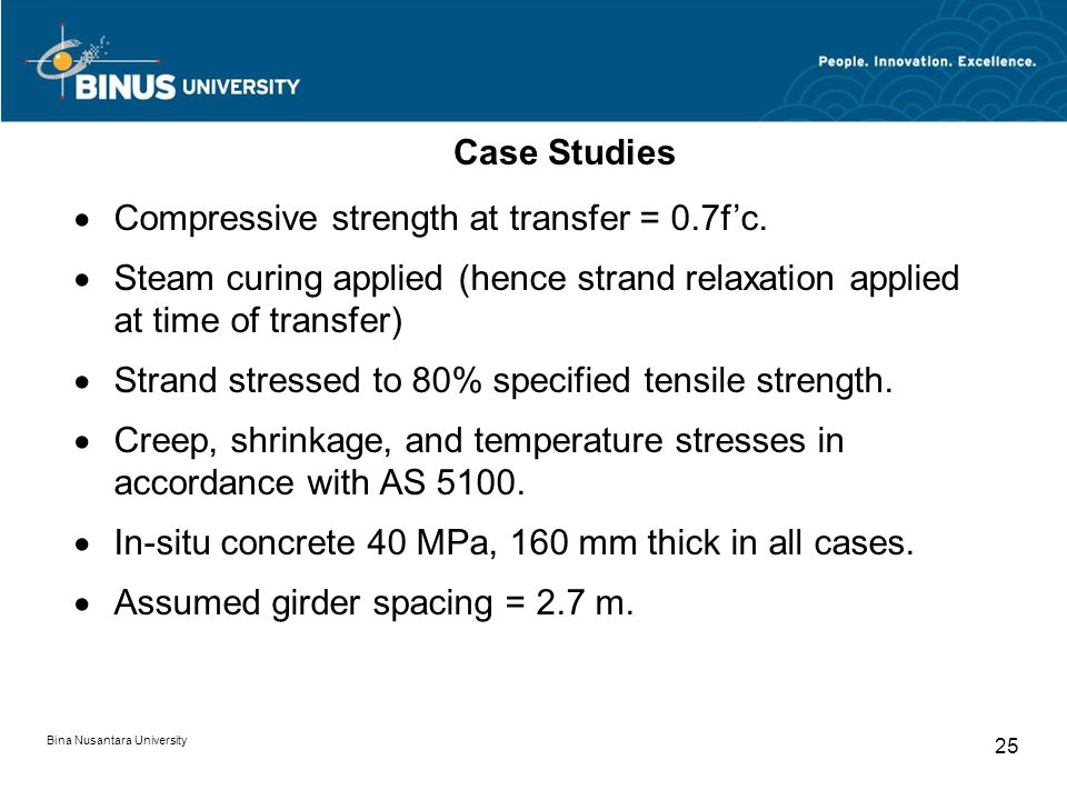 · Compressive strength at transfer = 0.7f'c.