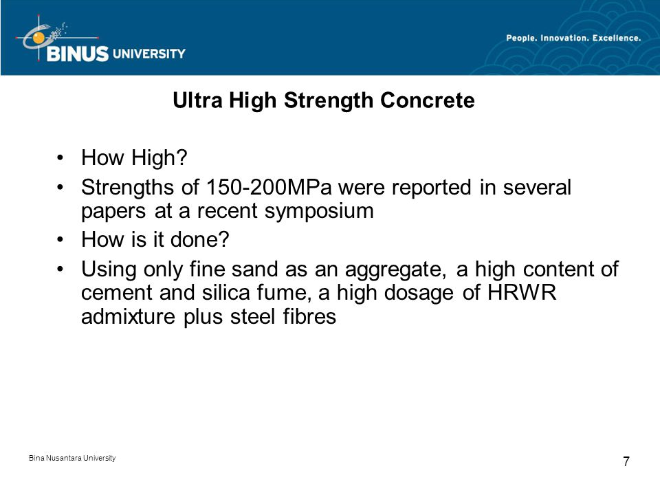 Ultra High Strength Concrete