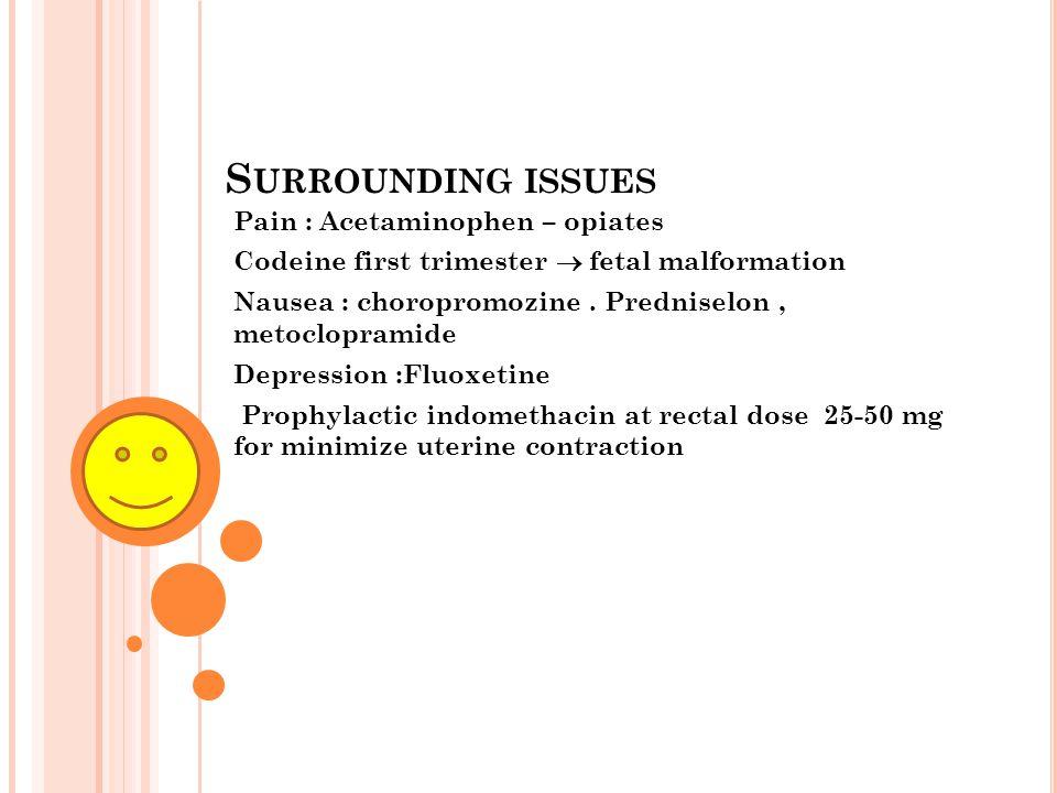Surrounding issues Pain : Acetaminophen – opiates