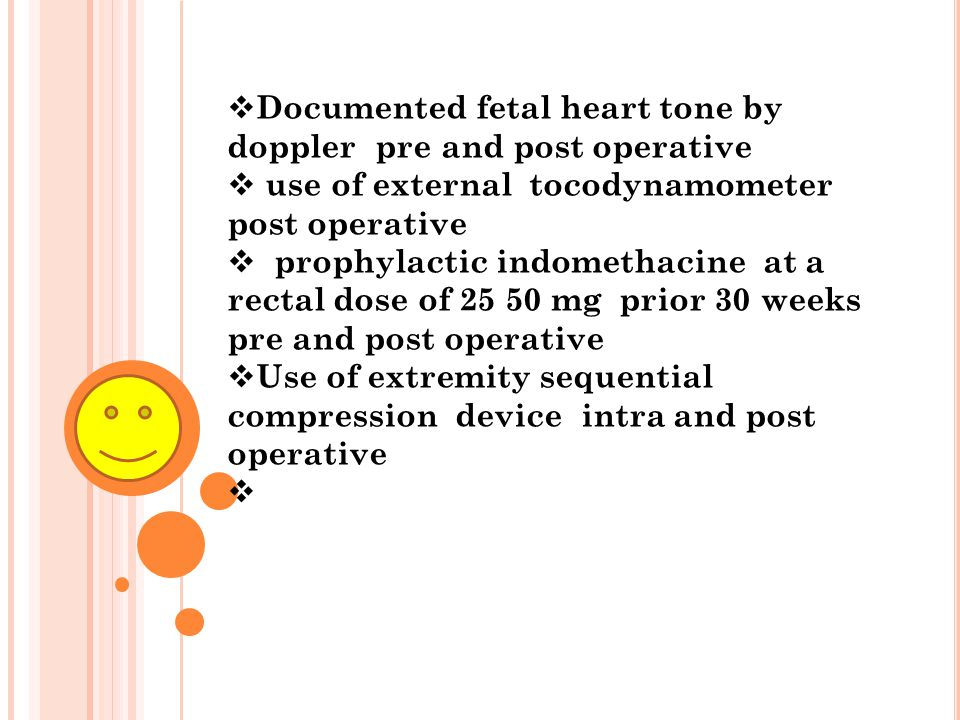 Documented fetal heart tone by doppler pre and post operative
