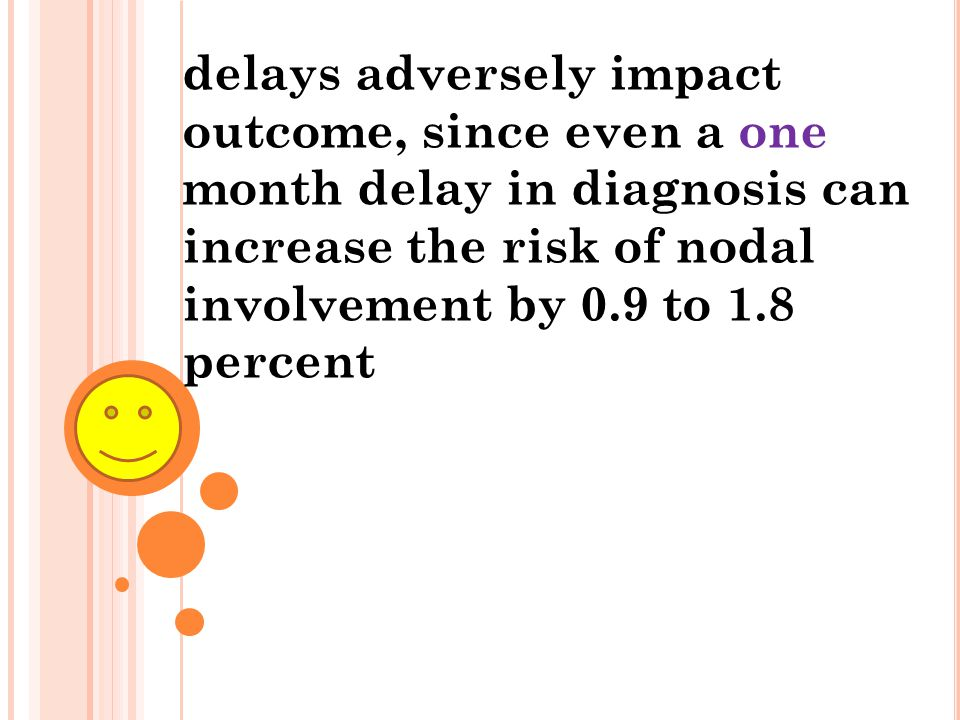 delays adversely impact outcome, since even a one month delay in diagnosis can increase the risk of nodal involvement by 0.9 to 1.8 percent