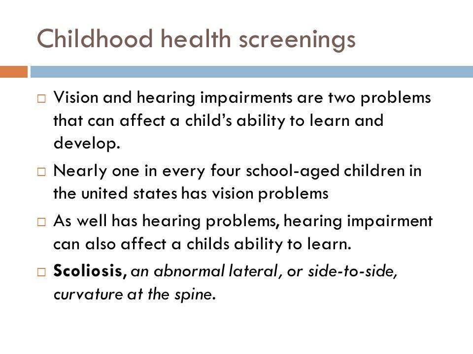 Childhood health screenings