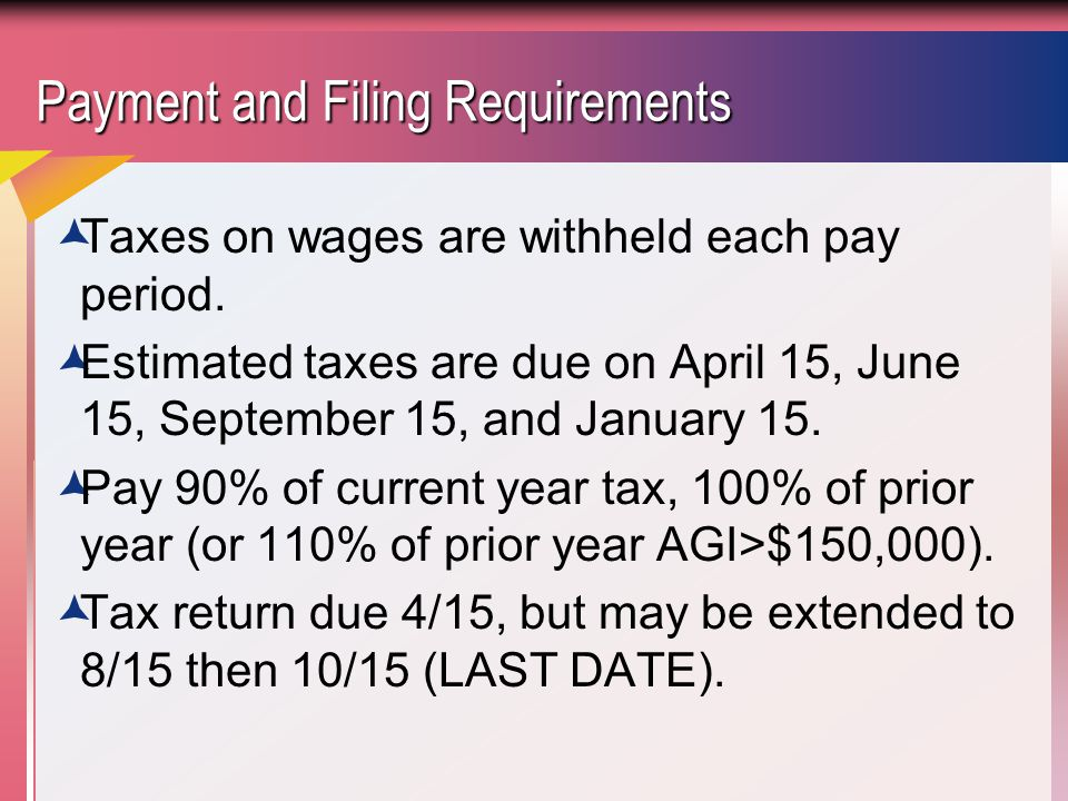 Payment and Filing Requirements