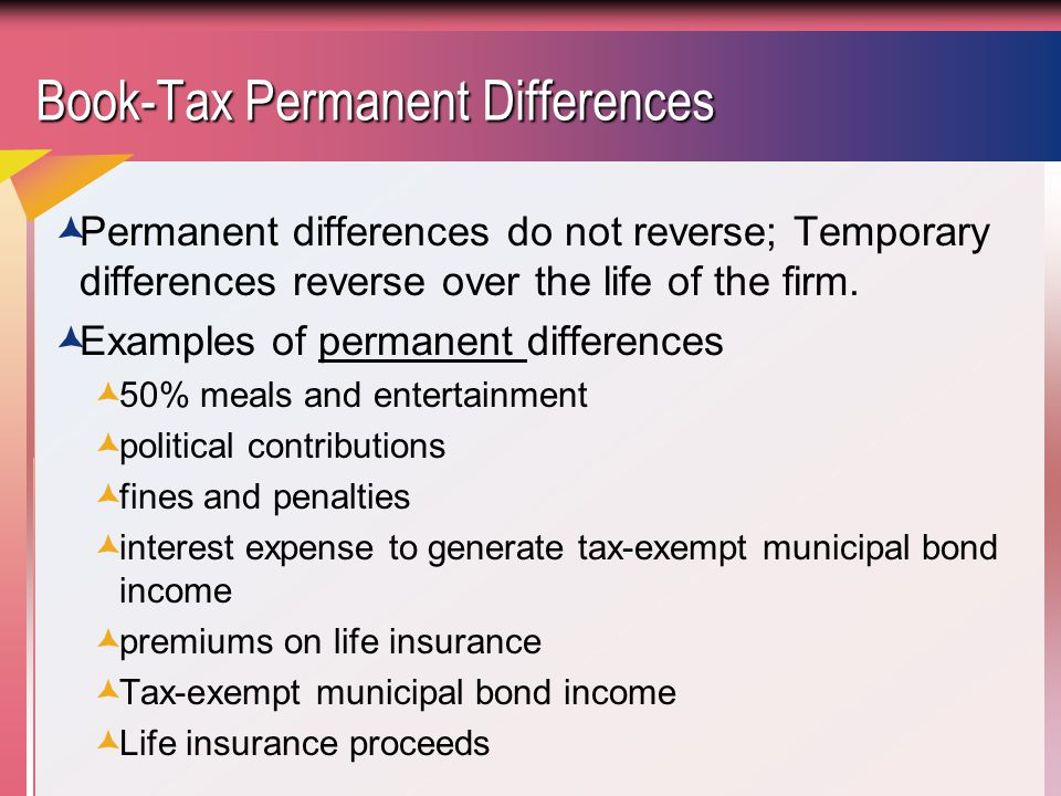 Book-Tax Permanent Differences