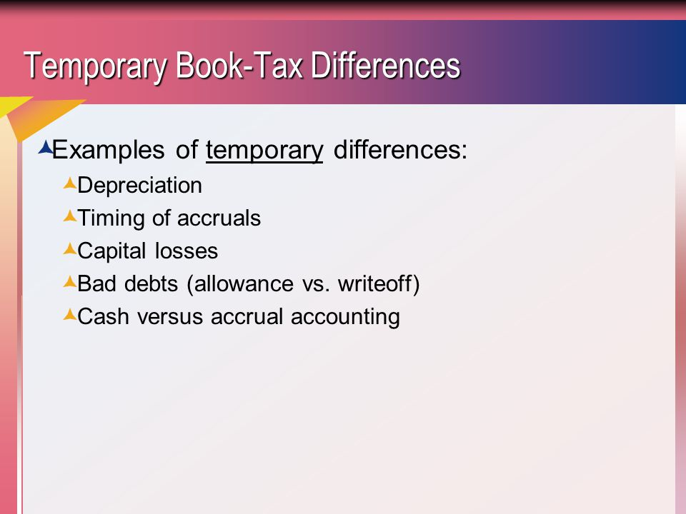 Temporary Book-Tax Differences