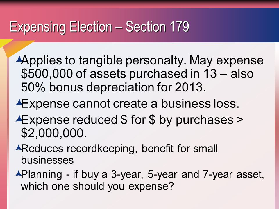 Expensing Election – Section 179