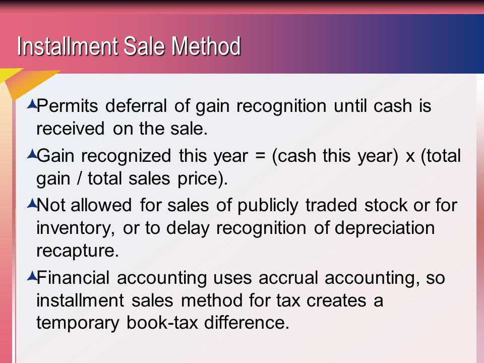 Installment Sale Method