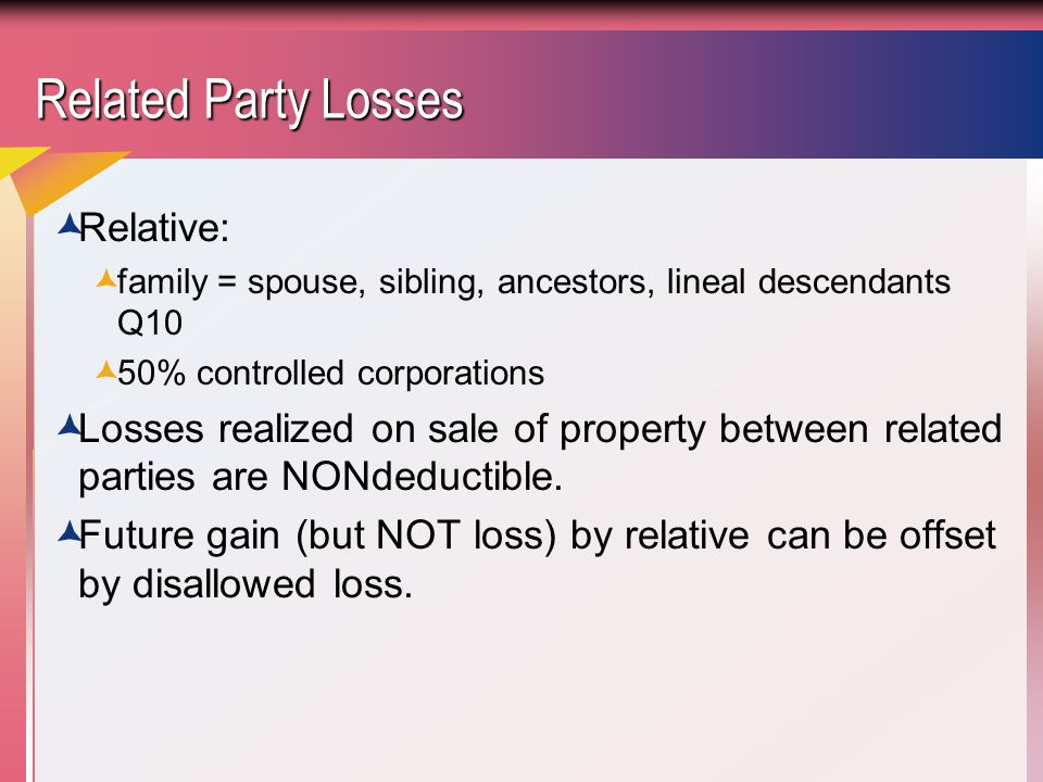 Related Party Losses Relative: