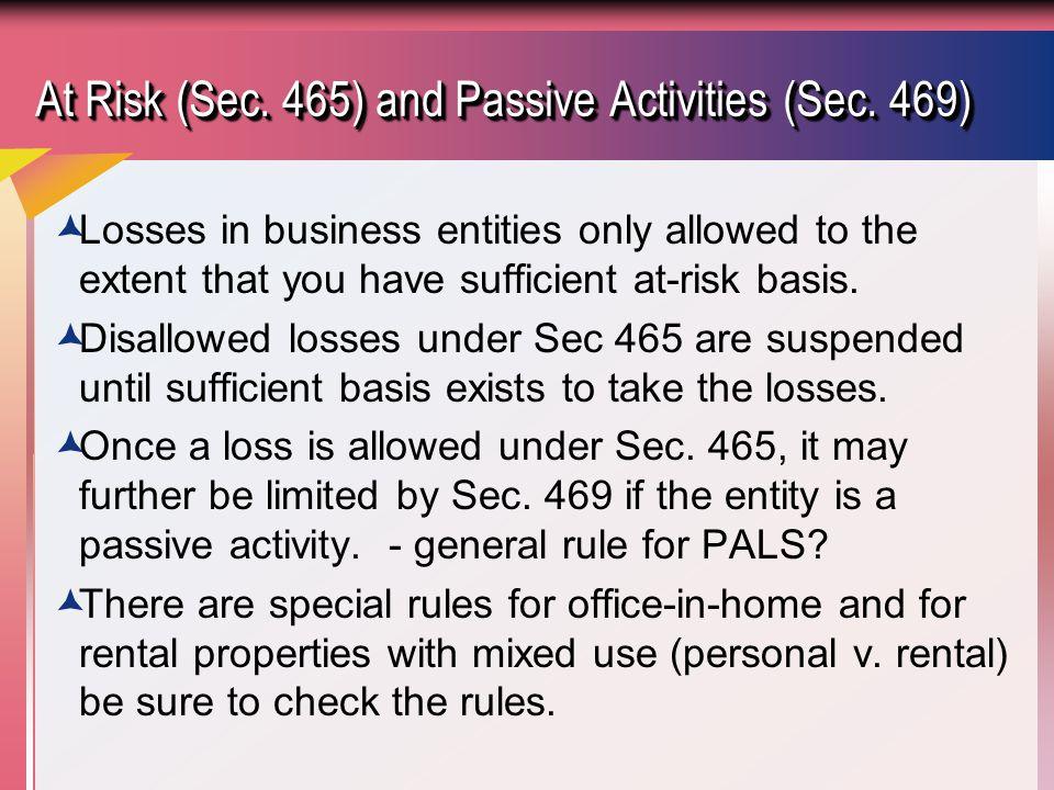 At Risk (Sec. 465) and Passive Activities (Sec. 469)