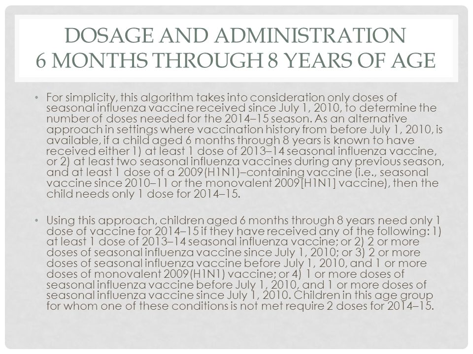 Dosage and Administration 6 months through 8 Years of Age
