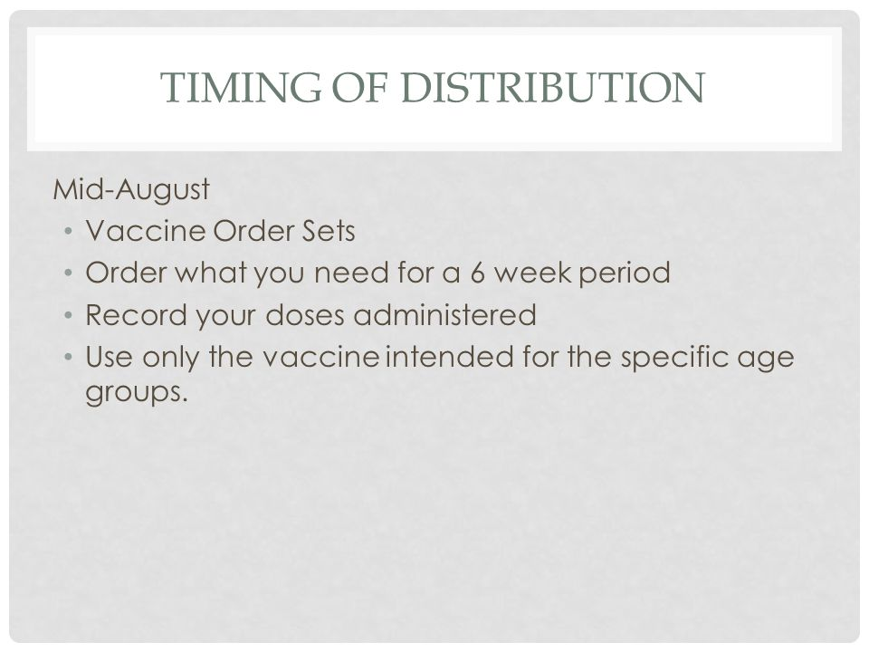 Timing of Distribution