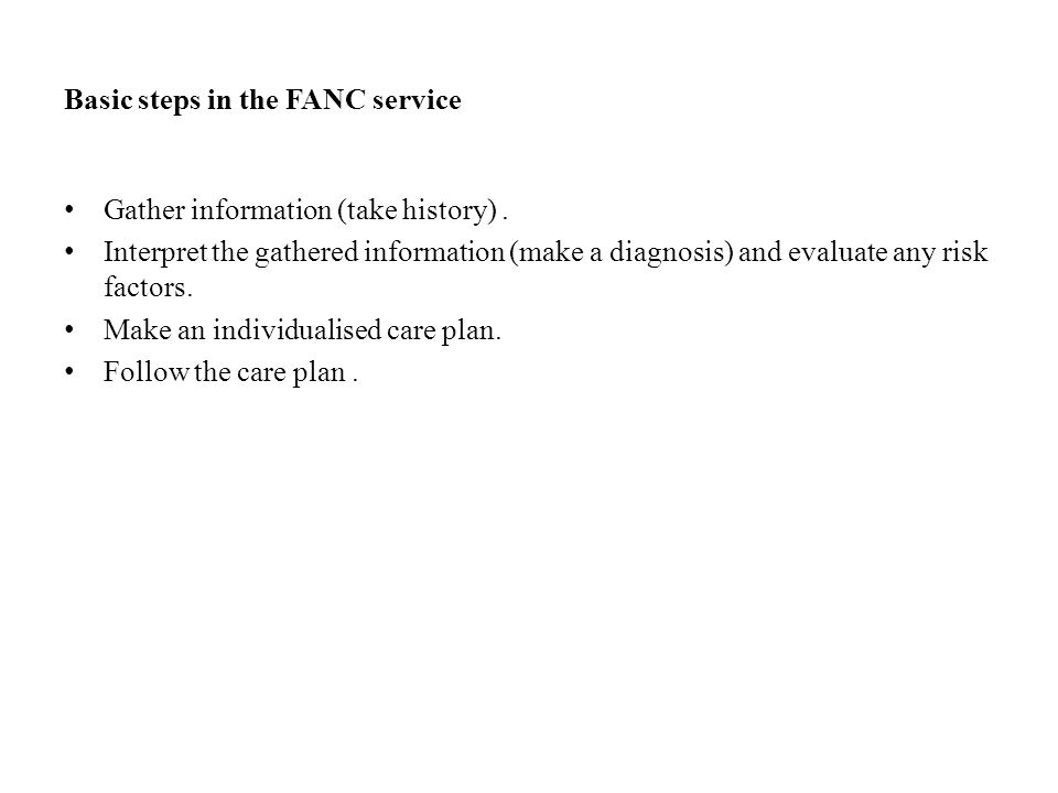 Basic steps in the FANC service