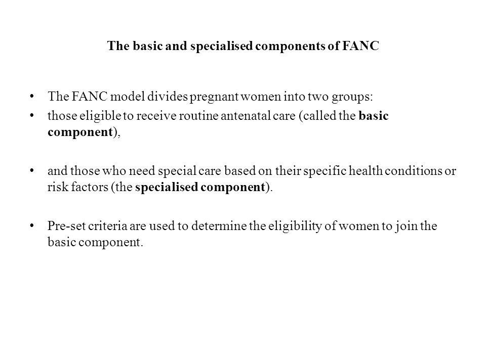 The basic and specialised components of FANC