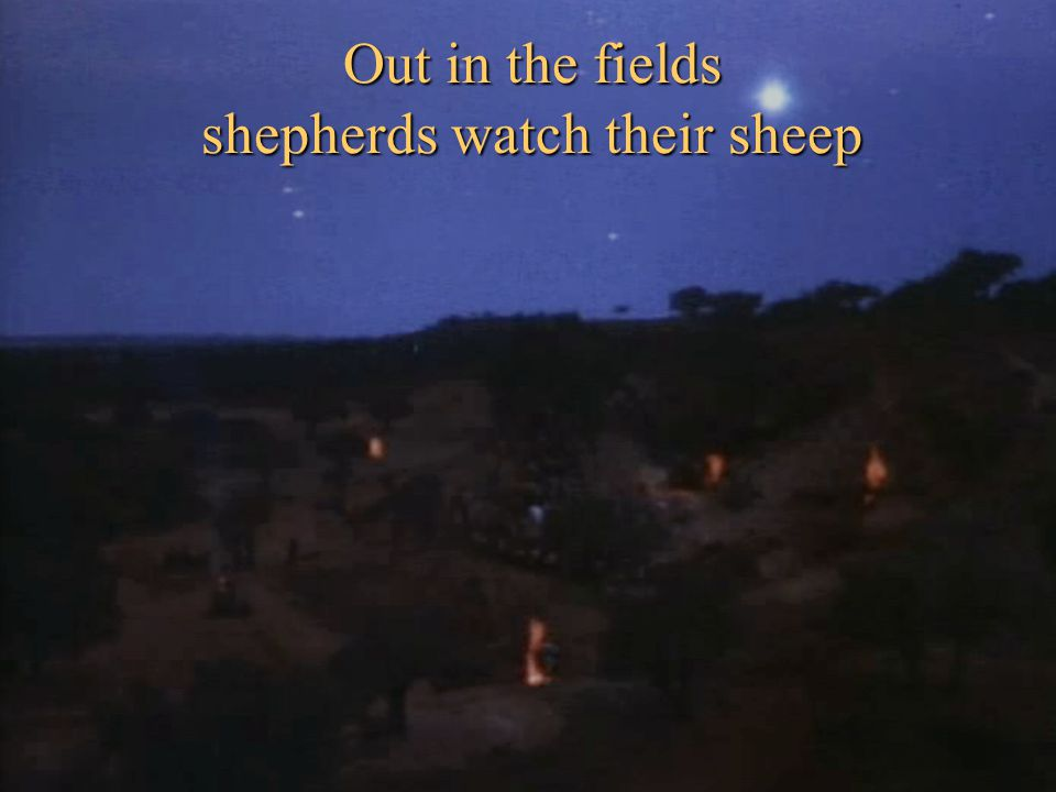 Out in the fields shepherds watch their sheep