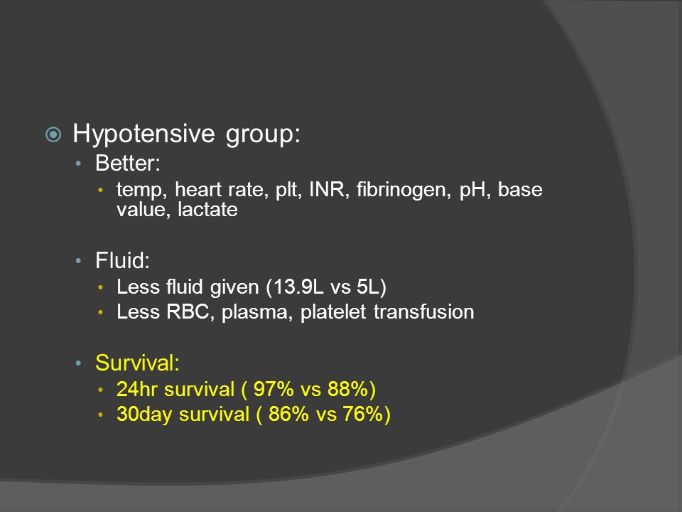 Hypotensive group: Better: Fluid: Survival: