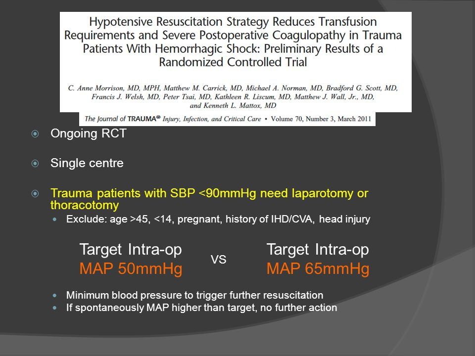 Target Intra-op MAP 50mmHg Target Intra-op MAP 65mmHg Ongoing RCT