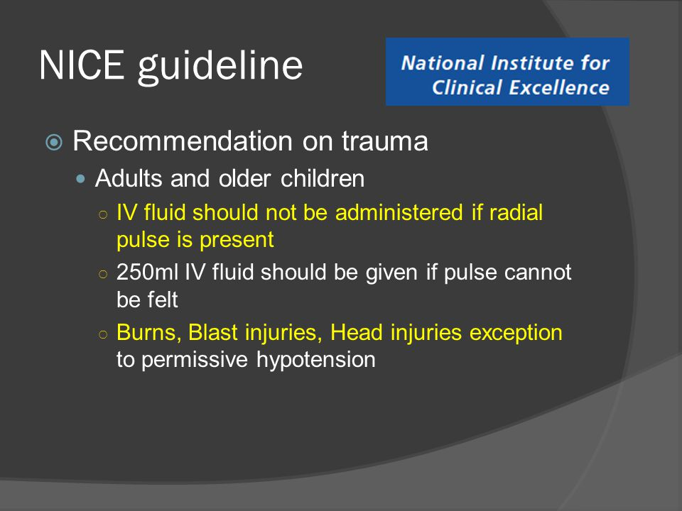 NICE guideline Recommendation on trauma Adults and older children