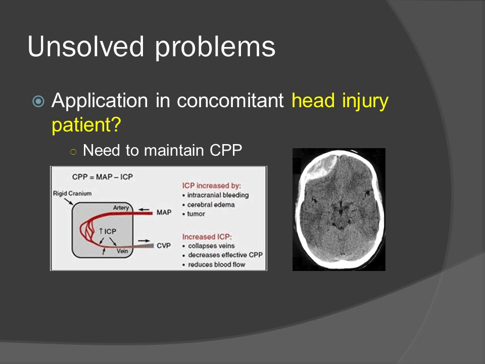 Unsolved problems Application in concomitant head injury patient