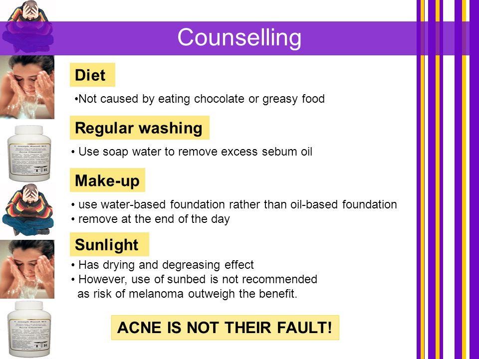 Counselling Diet Regular washing Make-up Sunlight
