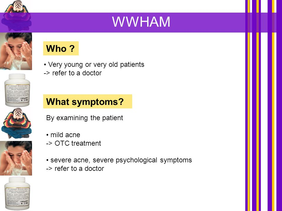 WWHAM Who What symptoms Very young or very old patients