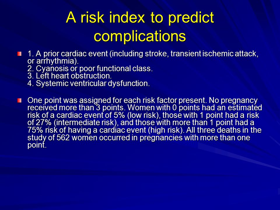 A risk index to predict complications