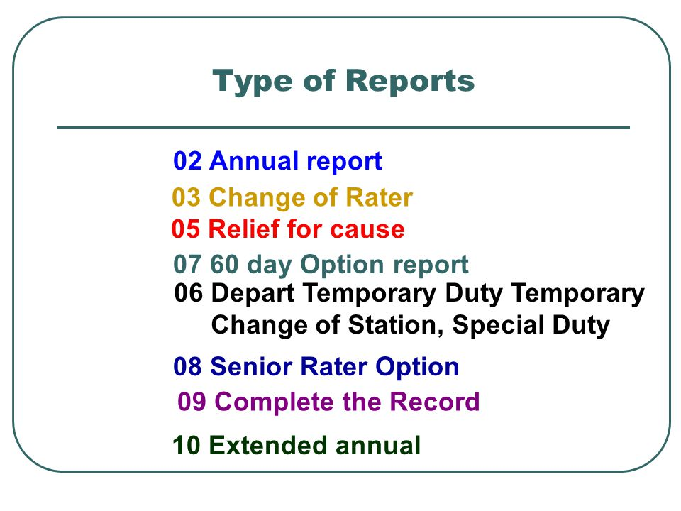 Type of Reports 02 Annual report 03 Change of Rater