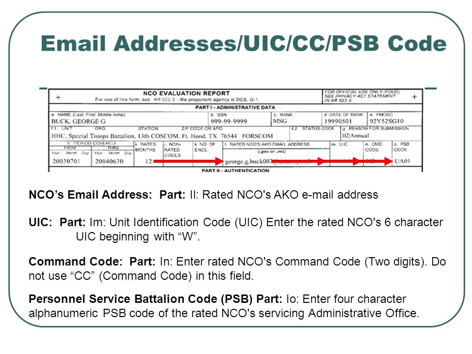 Email Addresses/UIC/CC/PSB Code