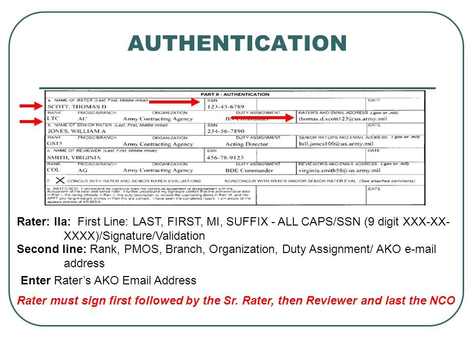 AUTHENTICATION Rater: IIa: First Line: LAST, FIRST, MI, SUFFIX - ALL CAPS/SSN (9 digit XXX-XX- XXXX)/Signature/Validation.