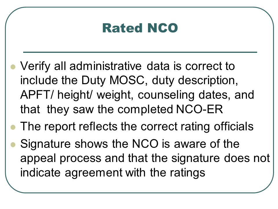 Rated NCO