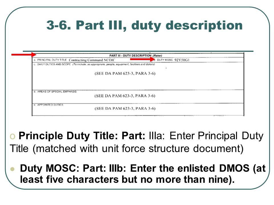 3-6. Part III, duty description