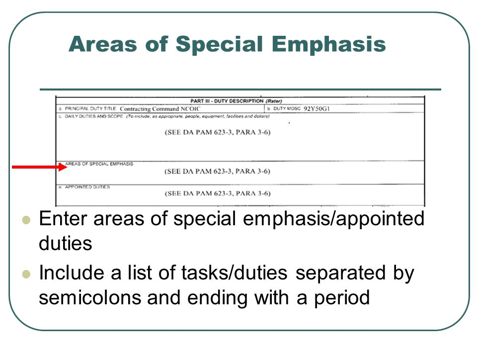 Areas of Special Emphasis