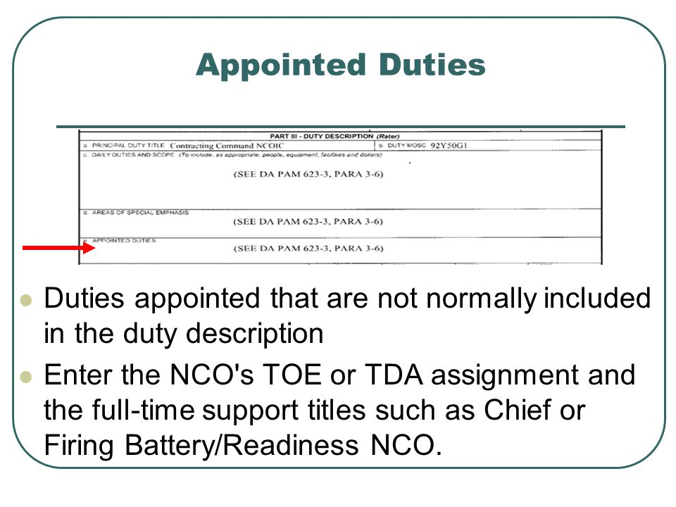 Appointed Duties Duties appointed that are not normally included in the duty description.