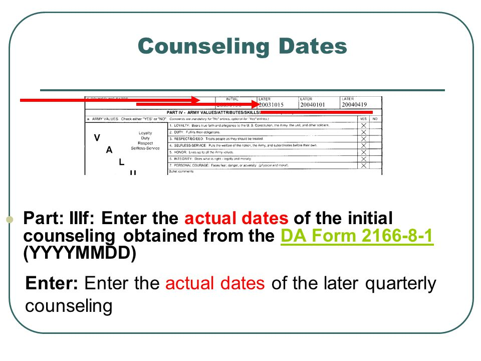Counseling Dates Part: IIIf: Enter the actual dates of the initial counseling obtained from the DA Form 2166-8-1 (YYYYMMDD)