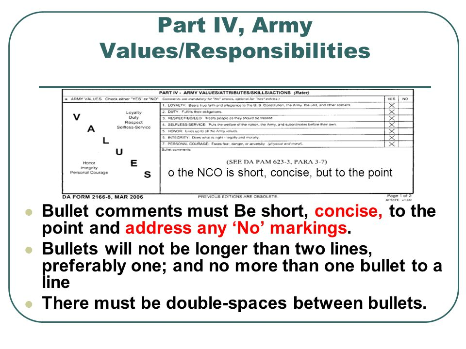 Part IV, Army Values/Responsibilities